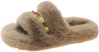 Slip On Muiltjes Slippers, Winter mode kralen platte wollen schoenen, dames katoenen slippers-Khaki_34.5, Ademende Indoor ...