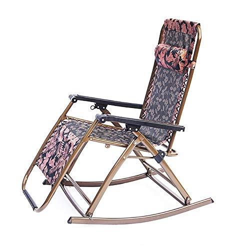 Qiming Descanso Cómoda Gravedad Cero sillas de salón sillas de jardín Plegable reclinable al Aire Libre Patio Tumbona Sillas de Playa con reposacabezas cojinete de Alta Carga
