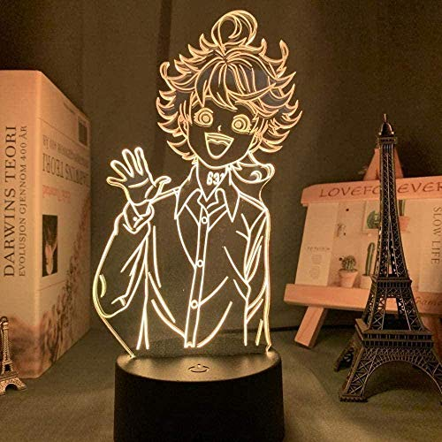Japanische Manga The Promised Neverland Emma Figur, LED-Nachtlicht, 3D-Licht für Zuhause, Raumdekoration, Kinder, Nachttisch, Nachttischlampe, 16 Farben