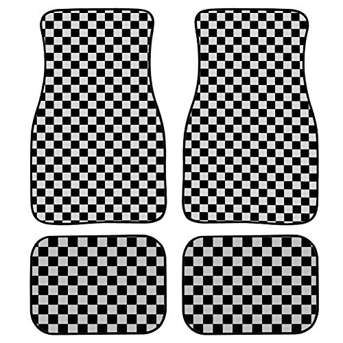 MOVTBA 4 Pieces Car Mat Carpet Small Checkered Black and White Square Car Floor Mats Colorful Front & Rear Non-Slip Carpet with Rubber Backing for Car SUV Van & Truck