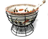 Temp-tations 4.5 qt Bowl w/Wire Stand & Ladle, Punch Bowl, Soup Tureen (Old World Harvest)...