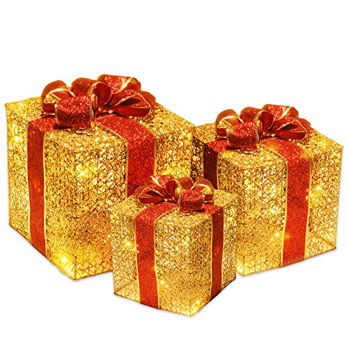 Joyjoz Set de 3 Cajas de Regalo Decorativas con Luz 50 LED, Cajas Preiluminadas para Decoración Navideña(Dorado y Rojo)