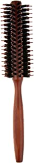 Baoblaze Natural Bristles Hair Brush Round Curling Comb Anti-Static Wood Handle,for Hair Drying, Styling, Curling, Adding Hair Volume - Straight Teeth
