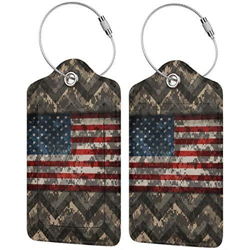 """Cartellino digitale mimetico con bandiera americana e scritta in inglese """"Patriotic Chevrons"""", per bagagli e valigia, con cinghie regolabili, per viaggi d'affari, 2 per set"""
