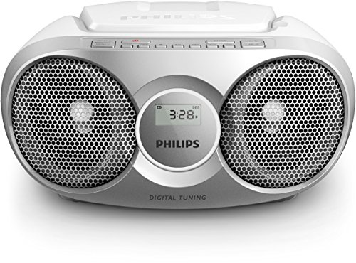 Philips AZ215B CD-Soundmachine (Digital UKW, Audioeingang, 3 Watt, leicht bedienbar) Silber