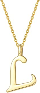 "FANCIME Yellow Gold Plated Initial Necklace High Polish Monogram Letter Initial Necklace Sterling Silver Fine Jewelry for Women Girls 16"" + 2"" Extender"