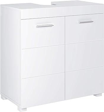 Homfa Meuble Salle de Bain Cabinet Rangement sous Lavabo Armoire sous-Vasque avec 2 Étagères Blanc 60x60x31cm