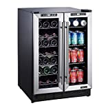 Magic Chef 24-in. French Door Wine and Beverage Cooler with Dual-Zone Cooling
