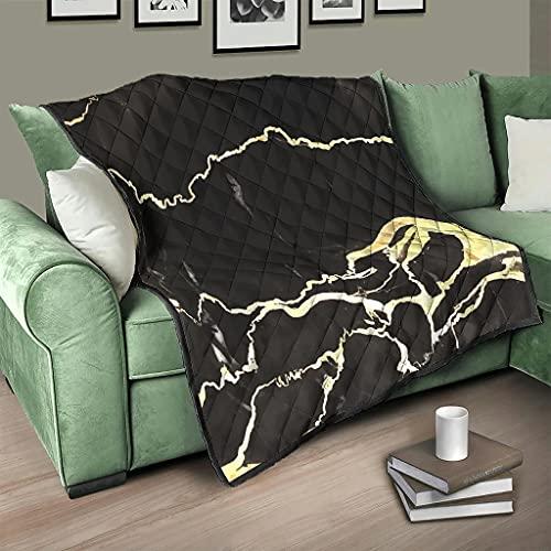 AXGM Colcha de mármol negro con textura dorada, colcha 3D digital, 180 x 200 cm, color blanco