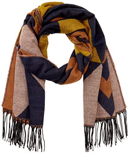 PIECES Damen PCBELINA Long Scarf NOOS Schal, Detail:Pattern W Zig ZAG-Graphical/Mocha Bisque, ONE Size