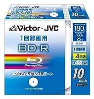 Victor 映像用BD-R 保護コート仕様(ハードコート)1回録画用 4倍速 25GB ワイドホワイトプリンタブル 10枚 BV-R130KW10