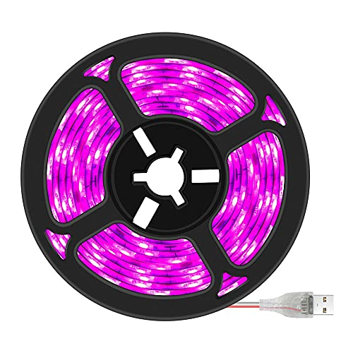 WHEEJE Phytolamp para plantas de 0,5 m 1 m 2 m 3m 2835 SMD DC5V LED PHYTO CINTURA Lámpara de luz para plantas Phytolamp Rango completo Luz de anillo (Color : No Waterproof)