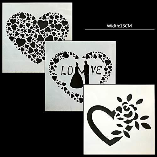 BLUGUL Journal Zubehör Schablonen, Zeichenschablonen Muster, für DIY Geschenkkarten, Fotoalbum, Kunst-Projekte, Papier Karte Deko, Liebe Liebhaber Ehe Herz 3Stück
