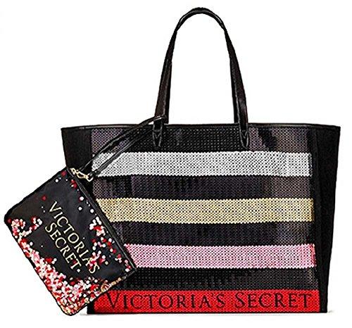 Victoria's Secret Bling Stripe Sequin Carryall Tote W Mini Bag Set Black/Red