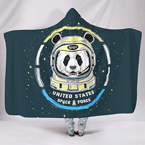 NC83 Panda Astronaut 2 Hooded Blanket extra groot design deken met mouwen en capuchon lichtgewicht super gezellig robe hoodie - geschikt voor volwassenen/vrouwen/mannen
