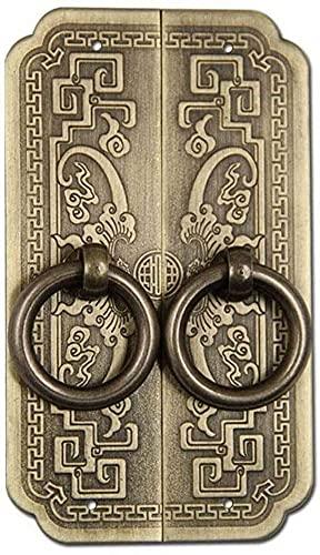 HAOJON Llamador de puerta antigua, resistente al desgaste, latón antioxidante, estilo rústico, ideal para puertas delanteras, muebles de jardín, negro, 6,4 x 10,5 cm