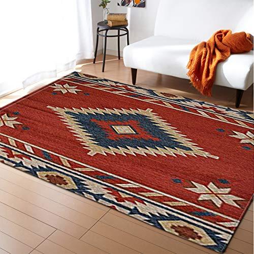 DRTWE Moderno hogar decoración Alfombra Antideslizante Sala de Estar Dormitorio Cocina Piso Mat Nordic Vintage Flor patrón alfombras Pasillo Corredor Rectangular,200 * 300cm