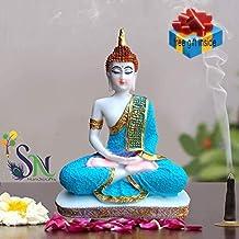 SN Handicrafts Sitting Buddha Idol Statue Showpiece- White and Sky Blue