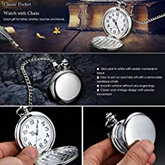 Smooth Vintage Steel Quartz Pocket Watch Classic Fob Pocket Watch with Short Chain for Men Women - Gift for Birthday Anniversary Day Christmas Fathers Day #2