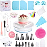 Cake Decorating Supplies Kit for Beginners   237 Pieces   Ultimate Kitchen Patisserie & Baking Supplies Set with Turntable Stand, Spatula, Cake Leveler, Cupcake Liners & Piping Tools