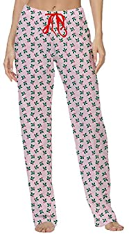 Hello Mello Women s Christmas Winter Holiday Lounge Pants W/Gift Travel Tote Holly Bry S/M Pink