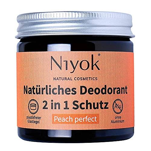 Niyok® 2 in 1 Deo ohne Aluminium Antitranspirant Deocreme Deodorant Creme   Damen   Herren starkes Schwitzen   aluminiumfrei - Peach perfect – 40 ml