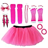 Dreamdanceworks 80s Costumes Accessories Set for Women Tutu Skirt, Hot Pink With Headband, One Size