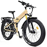 Wallke X3 Pro26-inch Upgrade The Frame Fat Tire Electric Bicycle 48V14AH Battery Adult Auxiliary Bike 750W Mountain Snow E-Bike (Yellow)