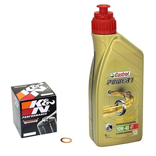 Castrol 10W-40 Öl + K&N Ölfilter für Yamaha WR 125 R/X, 09-15, DE07 - Ölwechselset inkl. Motoröl, Filter, Dichtring