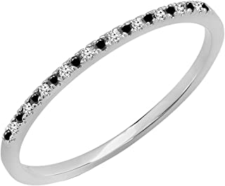Dazzlingrock Collection 0.08 Carat (ctw) 10K Gold Round Black & White Diamond Dainty Anniversary Stackable Band