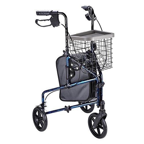 AW Folding 3 Wheel Rollator Tri Walker Walking Frame Mobility Aid Aluminium Lightweight with Bag Basket