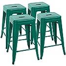 "Devoko Metal Bar Stools 24"" Indoor Outdoor Stackable Barstools Modern Style Industrial Vintage Counter Bar Stools Set of 4 (Green)"