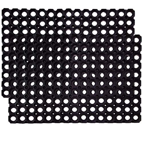 SafetyCare Interlocking Rubber Drainage Floor Mat - Anti-Fatigue - 24 x 16 inches - 2 Mats