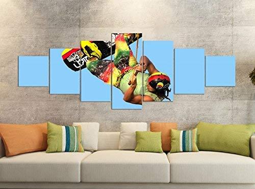 Canvas foto's 7-delig 280x100cm wakeboarding waken wakeboarden sport canvas foto delen delig kunstdruk druk druk vlies muurschildering meerdelig 9YB1486 ca. 280cmx100cm
