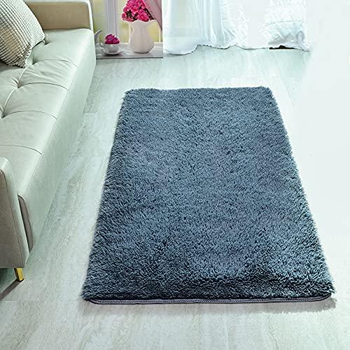 GaoTuo Alfombras Suaves de Terciopelo, alfombras Modernas y esponjosas, Lindas alfombras de Dormitorio peludas, adecuadas para su Uso como alfombras de Dormitorio(Gris,80x120cm)
