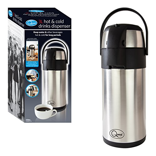 Quest 35730 Airpot 3L Water Dispenser with Pump Action-Stainless Steel Double-Walled Insulated and Lightweight-Hot and Cold Drink Beverage Air Pot with Handle-for Tea and Coffee