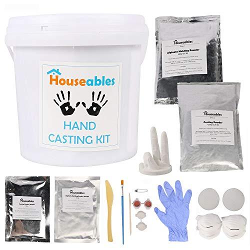 Houseables Hand Plaster Casting Kit, DIY Hands Sculpture, Large, Molding Crafts For Couples, Children, Babies, Family, Skin Safe Alginate Powder, Handprint Sculptures, Anniversary Gift, Baby Footprint