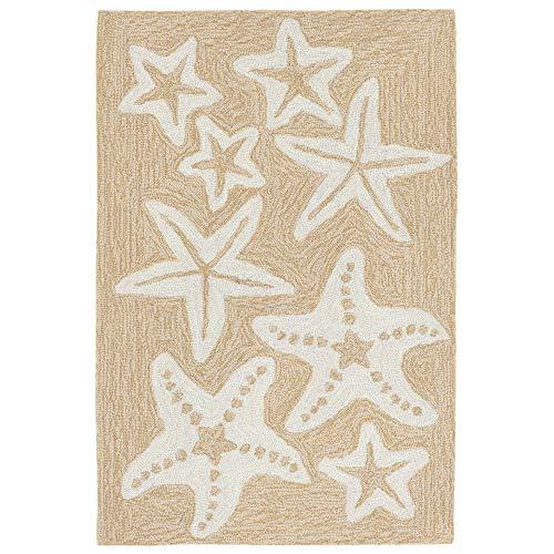 Liora Manne Capri Coastal Starfish Neutral Indoor/Outdoor Rug, 1'8' x 2'6'