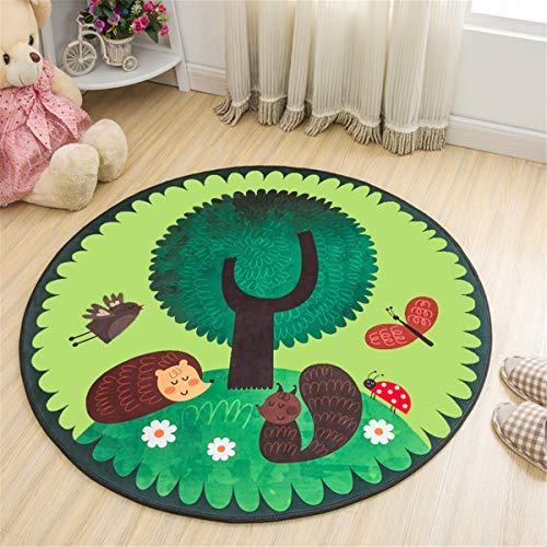 Morbuy Redonda Alfombra para Salon Infantil Bebe Dormitorio Cocina Exterior, Cartoon Moderno Suave Antideslizante Yoga Picnic Alfombra de Piso Decoración del Hogar (120x120cm,Animales del Bosq