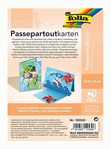 folia 120530 - Passepartouts mit ovaler Stanzung, ca. 10,5 x 15 cm, 5 Karten (220 g/qm) und Kuverts, himmelblau - ideal für Einladungen, Glückwunsch- oder Grußkarten