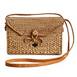 New Rattan Bags for Women - Handmade Wicker Woven Purse Handbag Circle Boho Bag Bali (Square Bow)