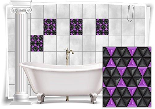Medianlux - Adhesivos decorativos para azulejos, diseño de mosaico, azulejos, color lila y negro, retro, para baño, 8 unidades, 10 x 15 cm