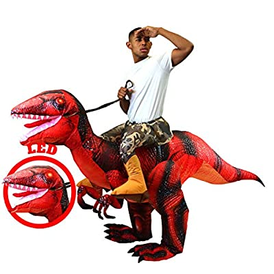 Spooktacular Creations Inflatable Raptor Riding a Raptor Dinosaur Deluxe Costume with Light-up LED Eyes- Adult (Red) by