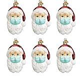 AGDLLYD Weihnachtsdekorationen,Weihnachtsmann Anhänger mit Maske Personalisierte Weihnachtsschmuck Kit 3D Dreidimensional Weihnachtsschmuck Für Weihnachtsbaum Deko (6pcs)