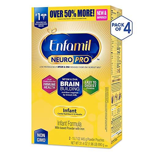 Enfamil NeuroPro Infant Formula - Brain Building Nutrition Inspired by Breast Milk - Powder Refill Box, 31.4 oz (31.4 Ounce (Pack of 4))