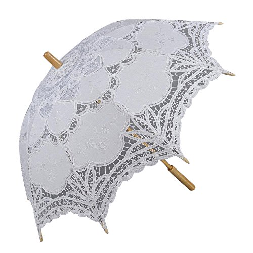 Lace - Sombrilla de encaje para boda, color blanco