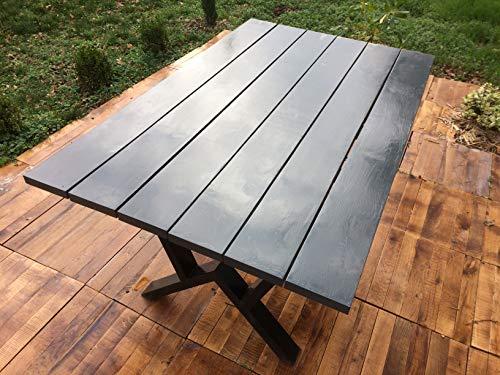 Générique Table Jardin 150 cm x 92 cm x 3 cm Chêne de France Massif livré en Kit, Montage Simple