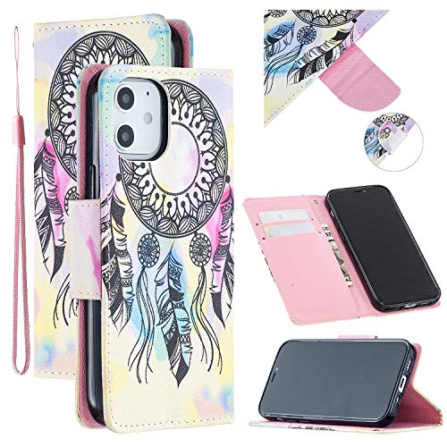 ShinyCase Wallet Case for Apple iPhone 12 Pro Max Phone Case,Wallet Case PU Leather Flip Cover Case Watercolour Art Print Dream catcher Patterns Shell with Kickstand Magnetic Card Holders Case
