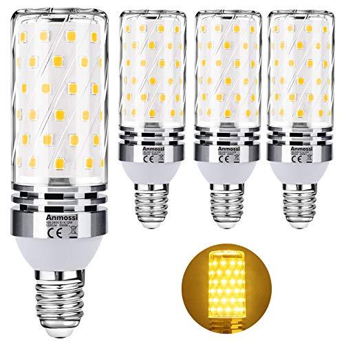 Anmossi Bombilla LED E14,Blanco Cálido 3000K,1200Lm,12W E14 Maíz Bombilla,Equivalente Bombillas Incandescente 100W,No Regulables,Pequeño Tornillo de Edison Bombillas LED,Paquete de 4