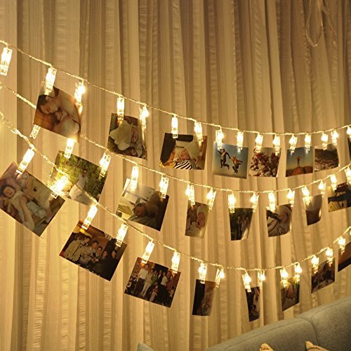 Warmoor 50 LED Photo Clips String Lights, 5M 16.4ft Fairy Starry Lights Wall Decoration Light for Hanging Photos Paintings Pictures Cards Memos, Battery Powered, Warm White